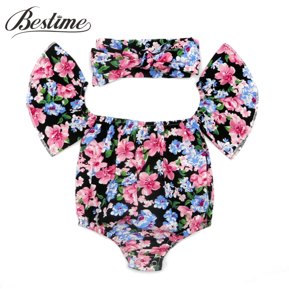 Summer Floral Baby   Rompers   + Headband 2PCS Cotton Infant Girls   Rompers   Newborn Baby Girls Clothing