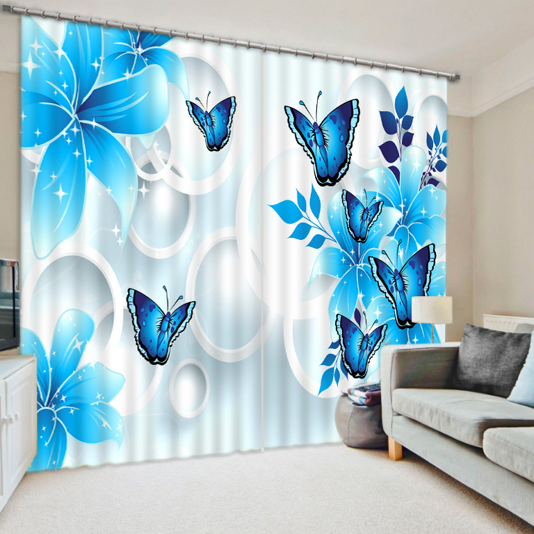 Blue curtains lily flower Curtain Decoration 3D Brief tree Curtains For Bedroom Living room Polyester Room Curtain