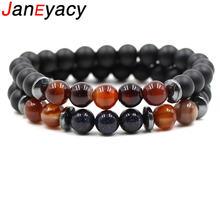 Janeyacy 1 sct 2 шт модный 8 мм браслет из натурального камня