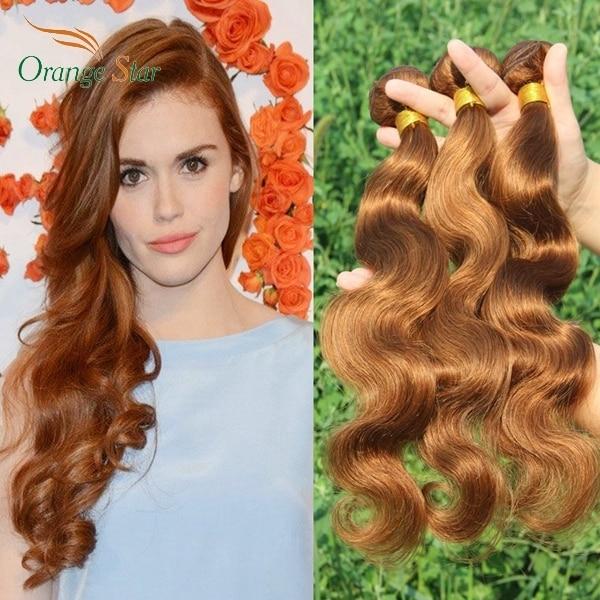 3pcs 7a Brazilian Body Wave Auburn Hair Extensions Color 30 Auburn