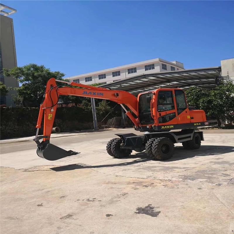 JIAXIN  Construction Machinery Wheel Excavator Small Wheel Excavator With Wood Grab Hammer  Mudguard