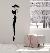 Etiqueta de la pared del vinilo moda superior modelo sombrero Retro señora estilo adhesivos para mujer regalo único 2LR10