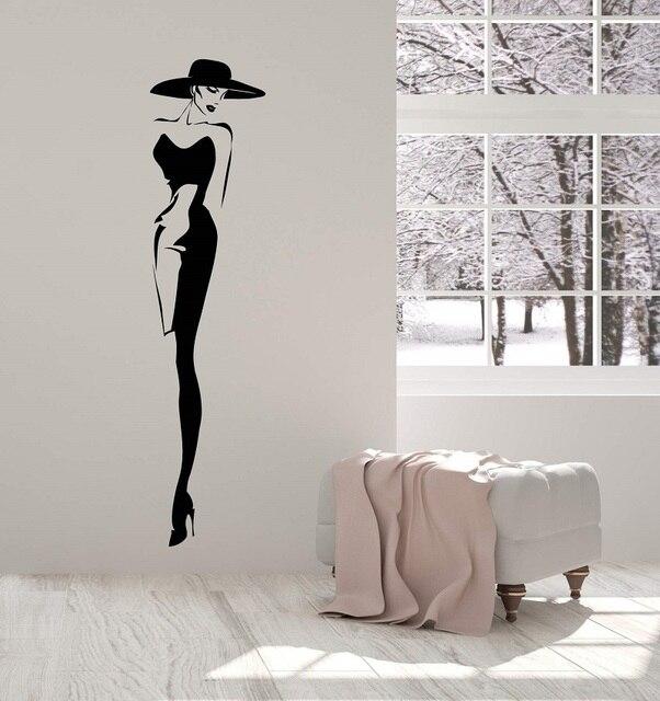 Vinyle autocollant mural haut de gamme modèle de mode chapeau rétro dame Style femme autocollants Unique cadeau 2LR10