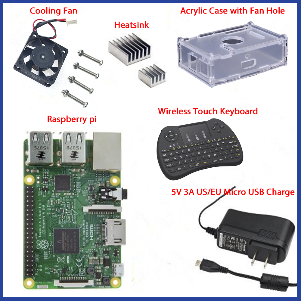 1GB Ras pi 3 Kit Raspberry Pi 3 Model B Board Acrylic Case Cooling fan SIC