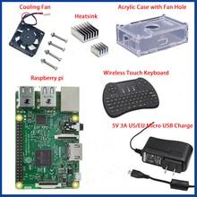 1 GB Ras pi 3 Kit Raspberry Pi 3 Modelo B Placa Acrílica + Caso + ventilador de Refrigeração + SIC dissipador de calor + 5V2. 5A Carregador de Energia + 2.4G teclado