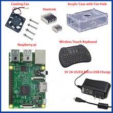 1 GB Ras pi 3 Kiti Ahududu Pi 3 Model B Kurulu + Akrilik Kılıf + Soğutma fanı + SIC isı emici + 5V2. 5A Güç Şarj + 2.4G klavye