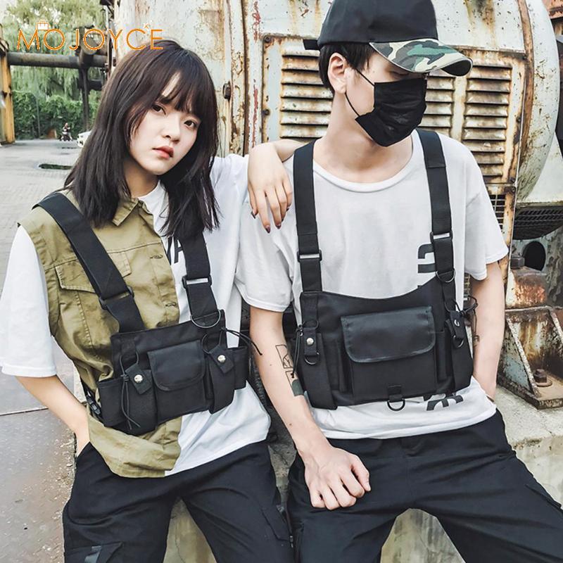 Chest Rig Bag Hip Hop Black Vest Solid Chest Waist Bag Functional Unisex Nylon Waistcoat Cross Shoulder Bags Dropshipping