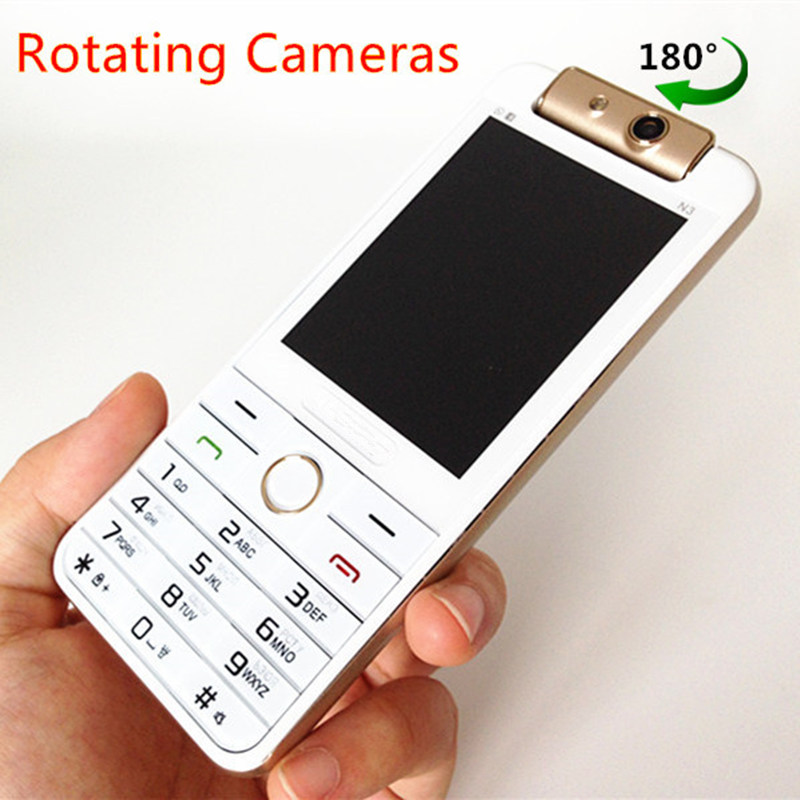 Fashion Cell Phone Rotating Cameras Original N3 Luxury Gold Bar Mobile Dual SIM Vibration Russian Keyboard