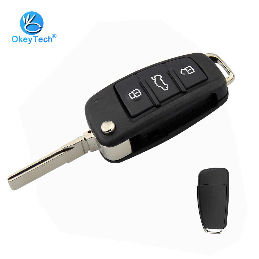 OkeyTech New Arrival 3 Button Flip Folding 3 Button Car Key Shell for Audi a3 a4 b6 b8 tt a6 c5 q5 8p HU66 Uncut Blade No Logo