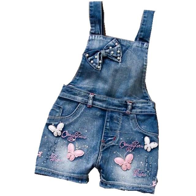 2016 PRIMAVERA Verão Estilo EUA Macacão Menina Doce Bonito Moda Jeans Lavados Denim Romper Macacões Cintas Calças Curtas Cowboy Azul