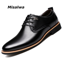 Misalwa 2019 Men Dress Shoes Simple Style Quality Men Oxford Shoes Lace up Brand Men Formal Shoes Men Leather Wedding Shoes