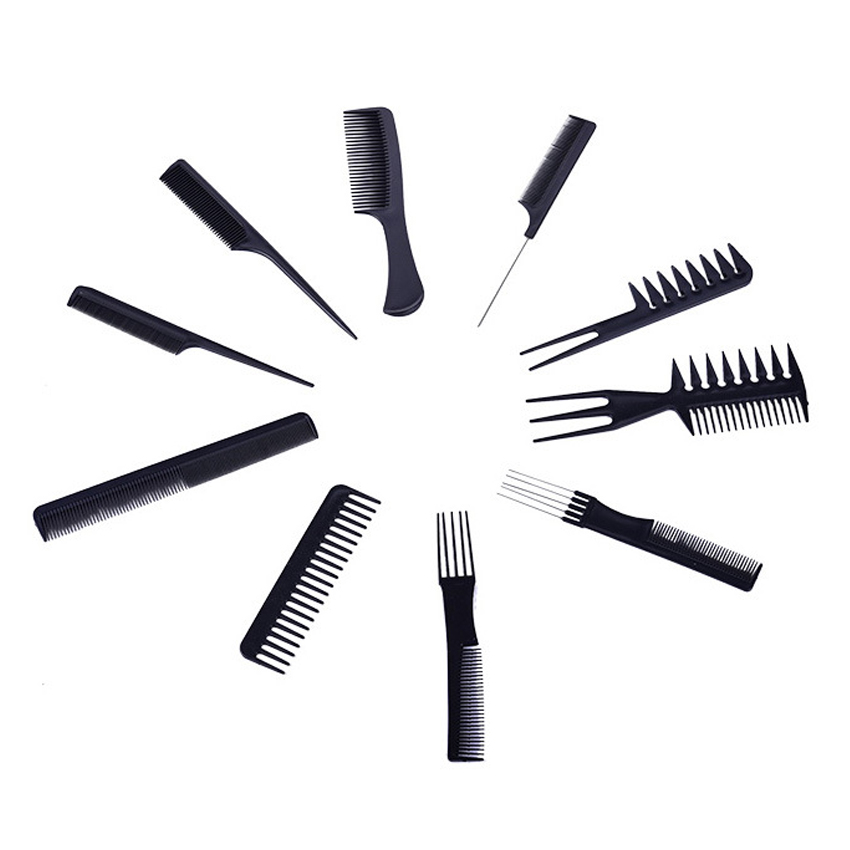 Promotion 10 pcs Black hair cutting combs set, unique hair comb in good design professional for hair fork comb, tail comb