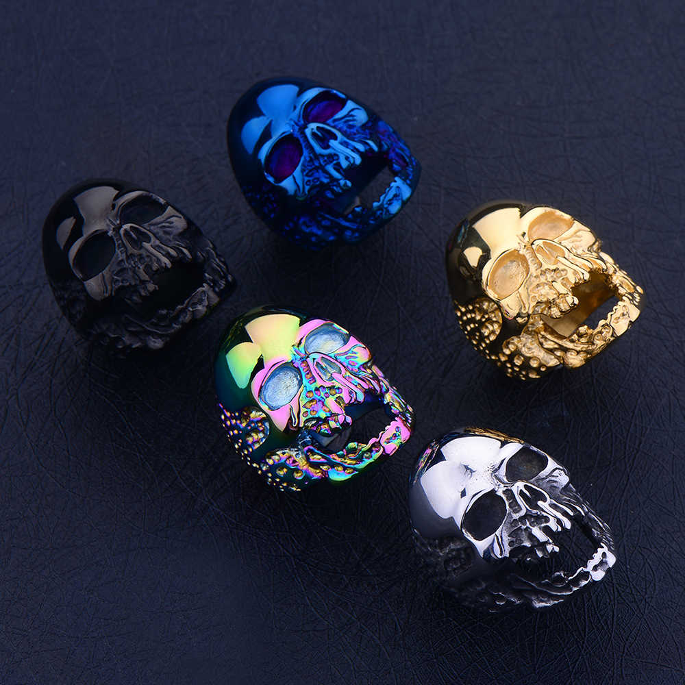Hot Sale Titanium Steel Gold Black Silver Blue Zombie Skull Finger Ring Punk Rock Men's Stainless Steel Jewelry Halloween Gift