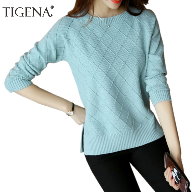 TIGENA Elegant Winter Sweater Women Jumper 2019 Casual Long Sleeve Knitted Pullover and Sweater Female Black Pink Top Pull Femme