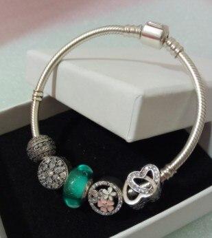 Haute Qualité 925 En Argent Sterling avec Perles Charme Chaîne Lien Bracelet et Bracelet Original Authentique Bijoux Cadeau pour les Femmes