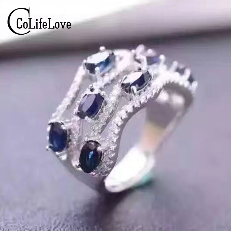 Fashion genuine sapphire ring for woman 8pcs 3*5mm natural sapphire stylish design pure 925 sterling silver sapphire ring цена 2017