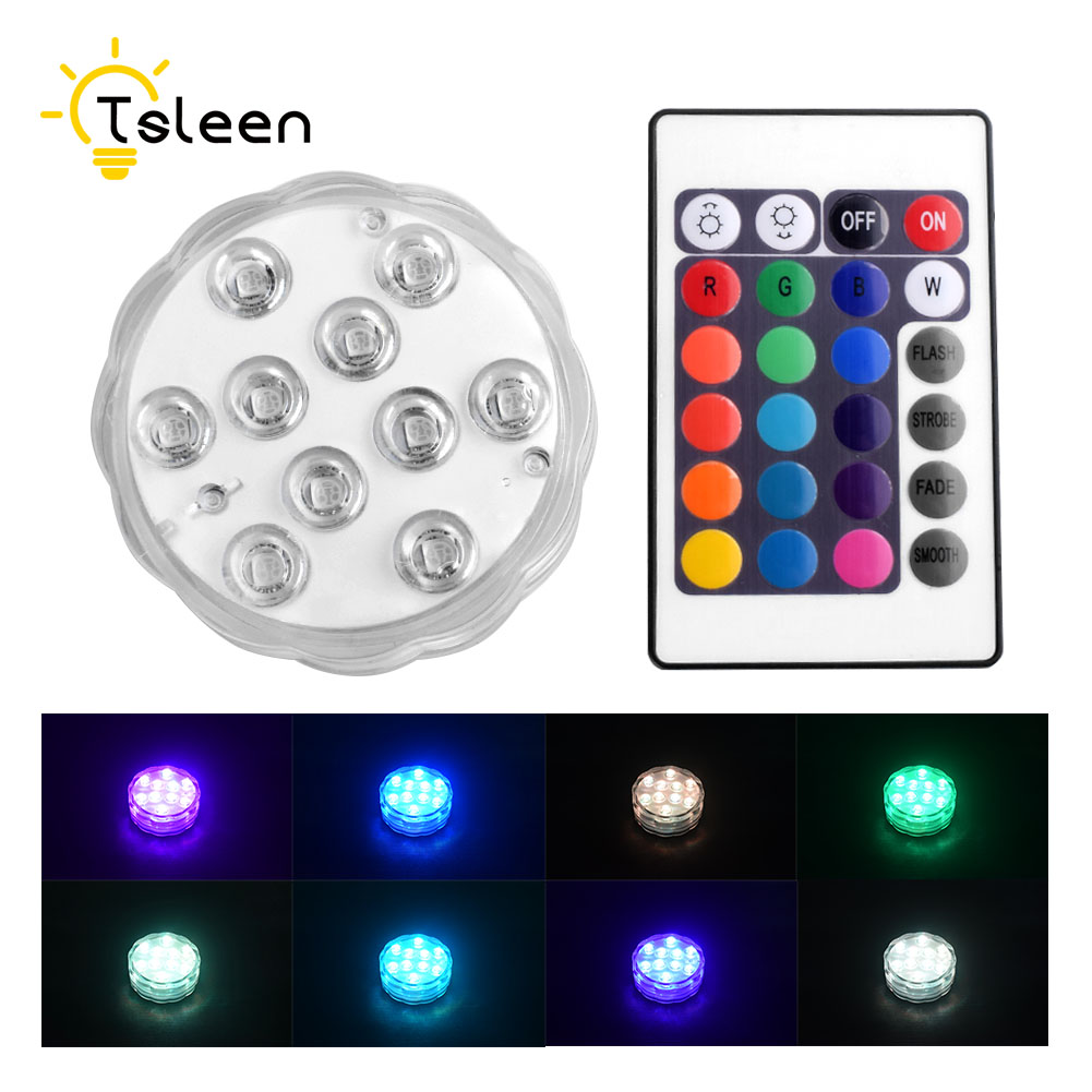 TSLEEN Free Shipping! 10LEDS RGB Led Underwater Light IP68 Waterproof Swimming Pool Light Battery Operated for Wedding Party