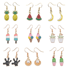 Fashion Creative Cherry Apple Pineapple Banana Strawberry Watermelon Fruit Hanging Earrings Brincos Womens Potted