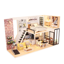 Furniture Doll House Wooden Miniature DIY DollHouse Furniture Kit Assemble with Dust Cover Doll Home Toys For children Gift M38 diy doll house miniature dollhouse model with 3d furniture and dust cover wooden doll house creative toys for children e