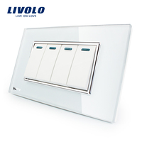 Manufacturer Livolo Luxury White Crystal Glass Panel 4Gang 2 Way Push Button Home Wall Switch VL