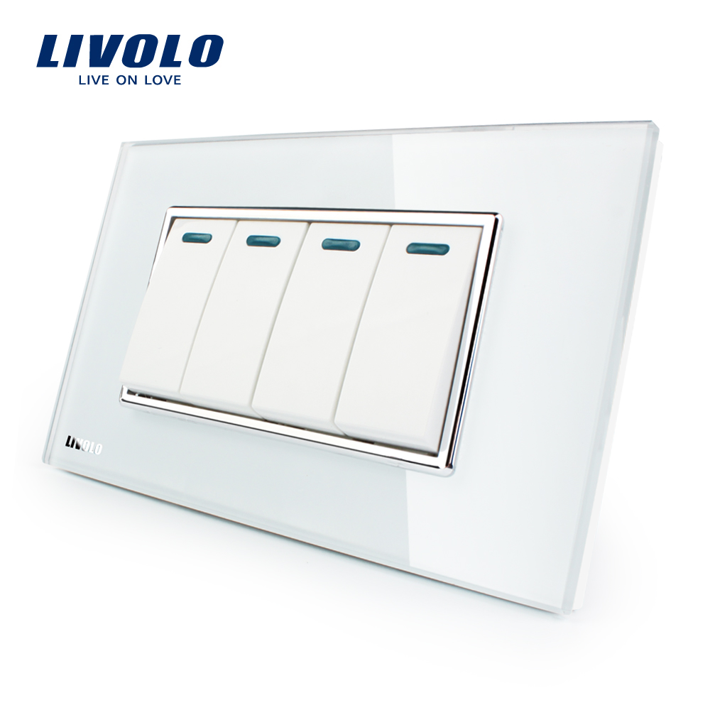 Manufacturer Livolo Luxury White Crystal Glass Panel, 4Gang, 2 Way Push Button Home Wall Switch,VL-C3K4S-81 livolo luxury white crystal glass panel push button 1 gang 2 way switch vl c3k1s 81