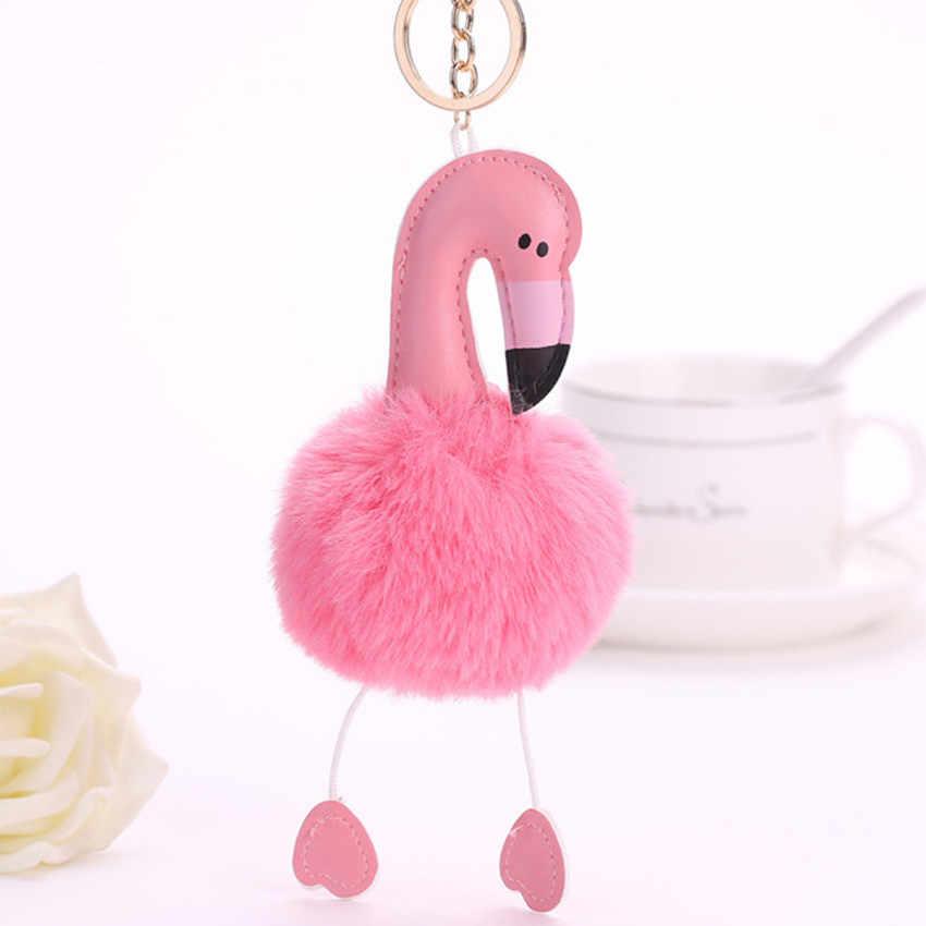 Bonito Fofo Flamingo Encantos Chaveiros Chaveiro Chave Cadeia Saco Das Mulheres De Pele de Coelho Pom Pom Carro Pingente de Chave Anel Titular de Jóias
