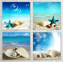 wall decor products sea star canvas painting Art Pictures Beach Sandy Sea Wave Seascape Oil Painting On Canvas For living Room