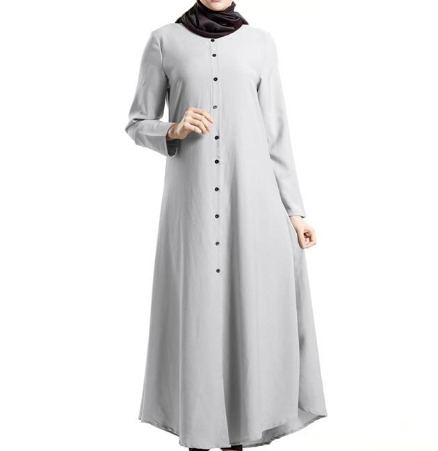 long dress muslim clothing abaya cardigan amira khaleeji solid gray long  sleeve floor length dress free ship-in Dresses from Women s Clothing on ... bec0331ff