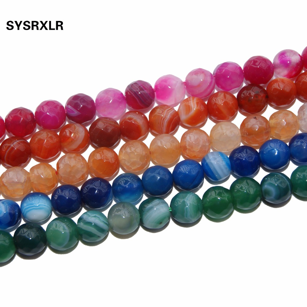 Free Shipping <font><b>13</b></font> Colors Faceted Agates Natural Stone Beads For Jewelry Making DIY Bracelet Necklace 6 <font><b>8</b></font> 10 MM Strand 15'' image