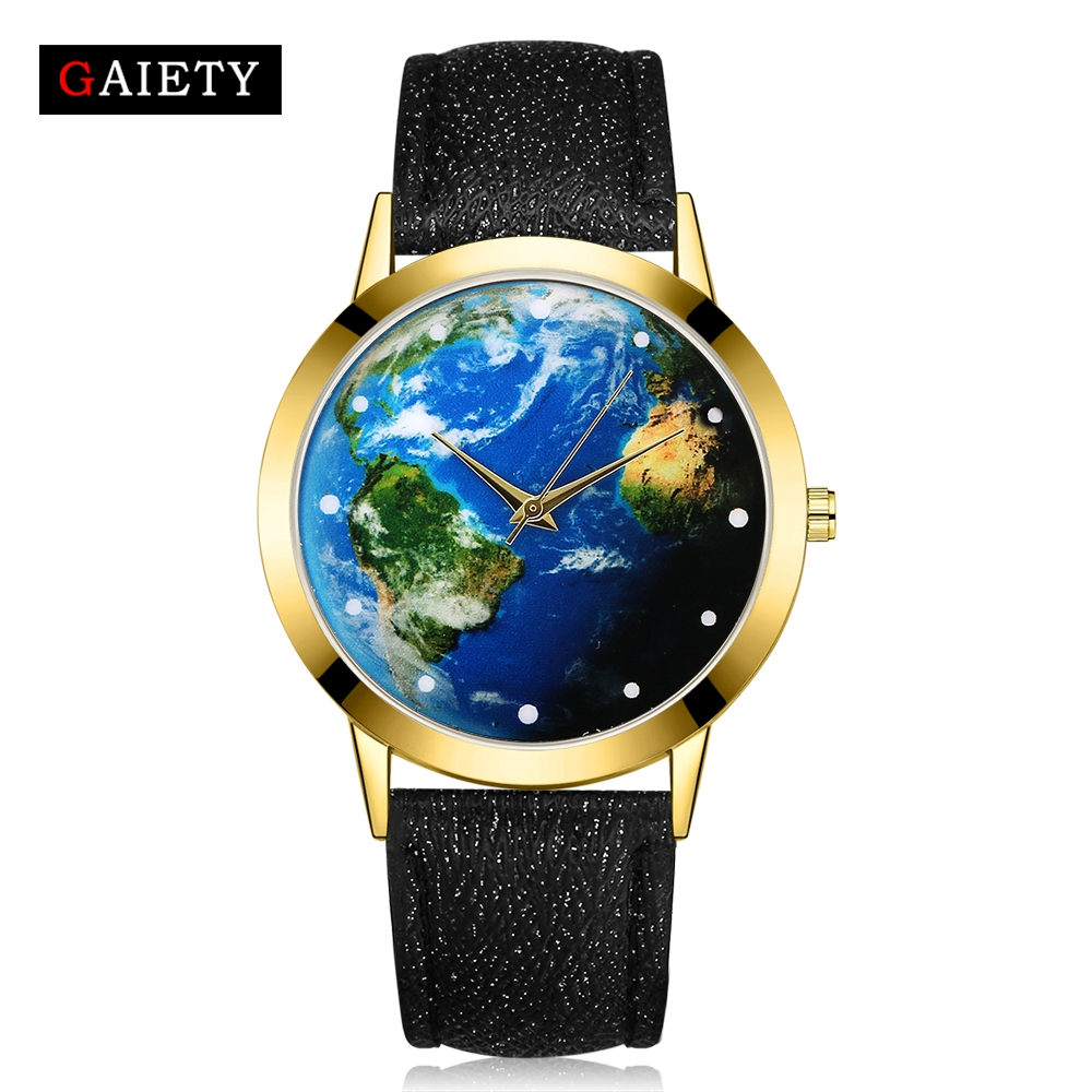 Watches Women 2017 New World Map Fashion Gold Dress Quartz Wristwatch Ladies Leather Sport Retro Clock GAIETY Brand miler vintage fashion watch women retro leather strap world map casual quartz wristwatch ladies creative clock relogio feminino