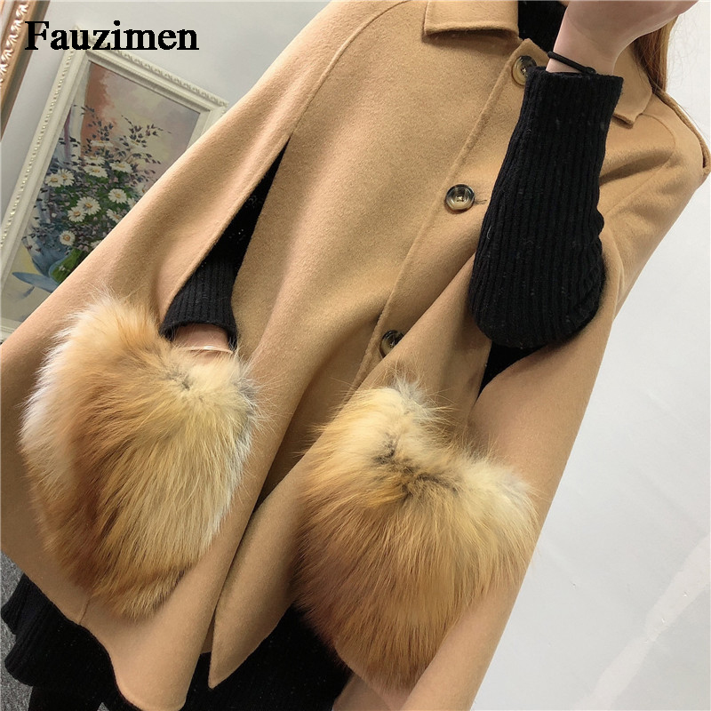Real Raccoon Fur Collar Coat Women Cashmere Real Fox Fur Scarfs Female Cashmere Ponchos Capes Shawl Loose Pashmina