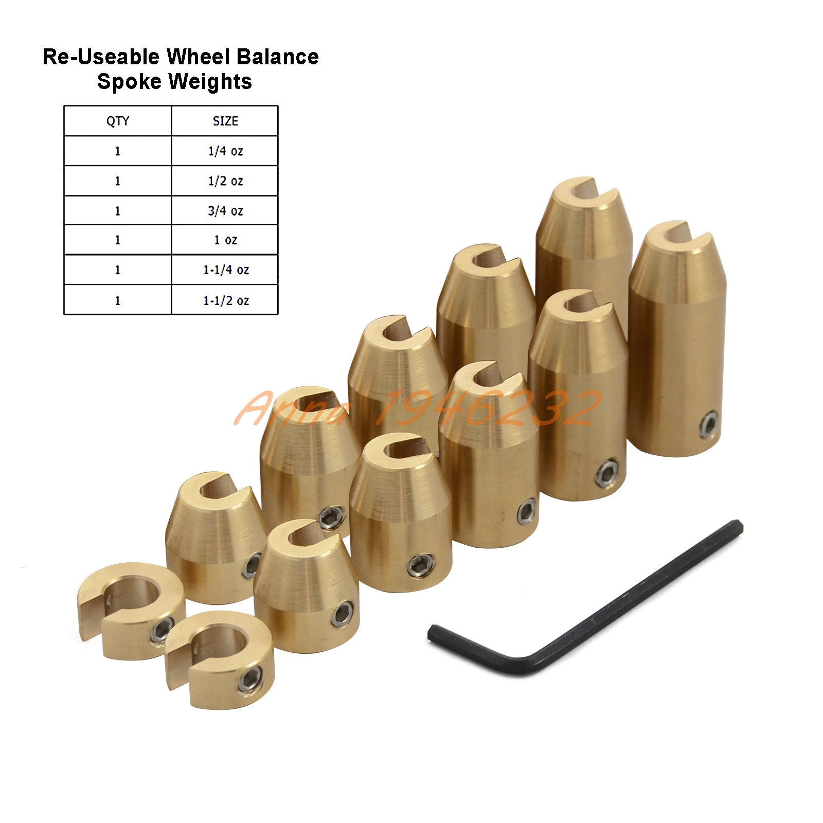 12 Pack Re-usable Motorcycle Brass Wheel Spoke Balance Weights For Super Moto Dual sport Harley-Davidson metric cruisers