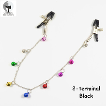 BED KUNGFU 2-terminal Nipple Clamps Color Mixing Copper Bells Medical Stainless Steel Clitoral Clip Purple Black Red Pink