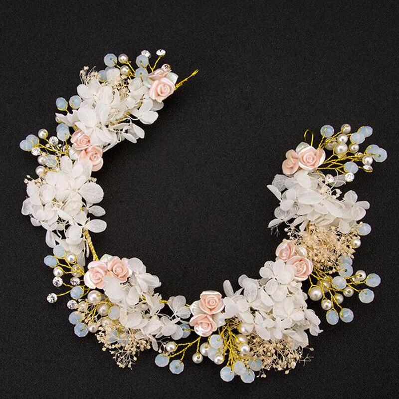 De mariage romantique rose crème fleur avec perles perle tressé head band bande de cheveux mariée bijoux de cheveux de partie de cheveux de mariée accessoires