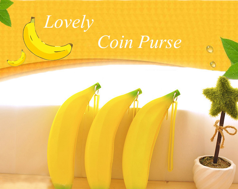 Cute Coin Purse Banana Pencil Case Kawaii Bag Silicone Purse Children's Purses For Kids Yellow Ulrica Coin Bags For Women Funny (1)
