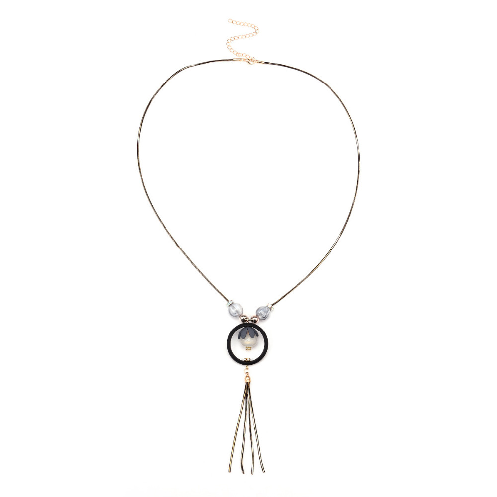 Ethnic Long Nackalce Autumn and Winter Accessories Acrylic Fringed Sweater Chain Fashion Nacklace for Women Jewellery