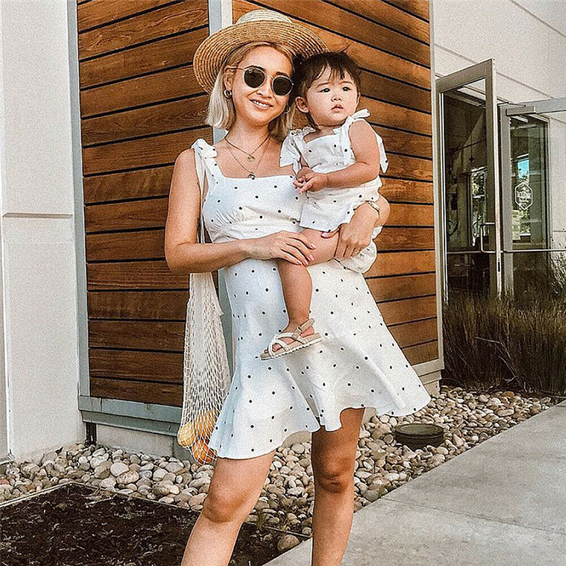 adsfay.com Summer-Mother-And-Daughter-Dot-Dress-Family-Matching-Outfits-Mom-Kids-Strappy-Mini-Dresses-Women-Baby