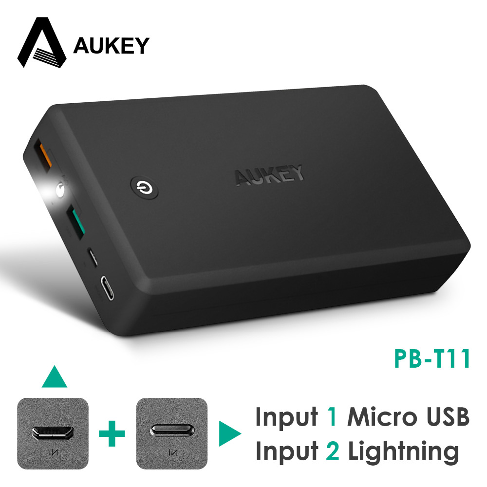 AUKEY 30000mAh Quick Charger Power Bank QC 3 0 Portable power bank Dual USB Output poverbank
