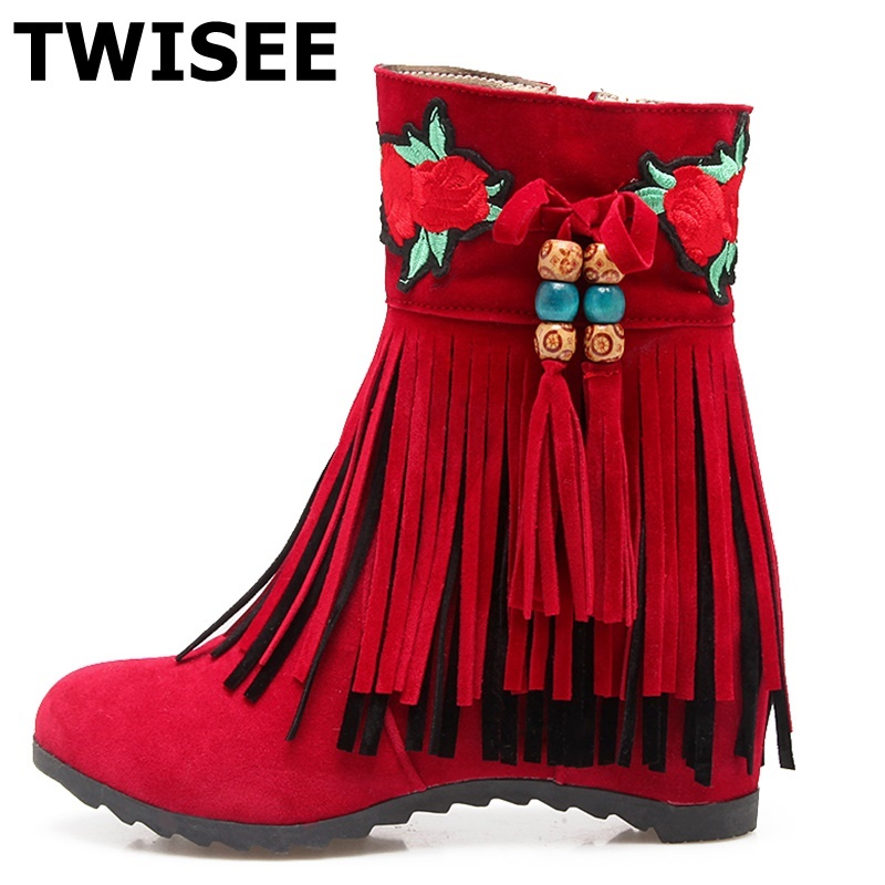 TWISEE Fringe Round Toe Autumn Shoes Women Ankle Boots Flock Low Heel zip Cowhide Woman Boots Floral women novel art solid geometry bedroom bedside table lamps led table lamp 220v desk lights decor eye protection reading light white