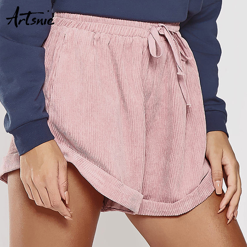 Artsnie Spring 2019 Pink Casual Corduroy   Shorts   Women High Waist Drawstring Double Pockets White Loose Flare Girls   Shorts   Female