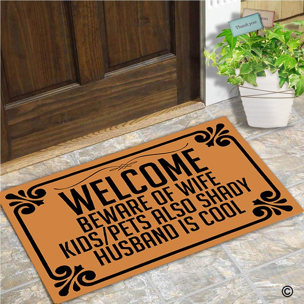 Doormat Entrance Floor Mat Welcome Beware Of Wife Kids Pets Also Shady Husband Is Cool Doormat 30 by 18 Inch Machine Washable image