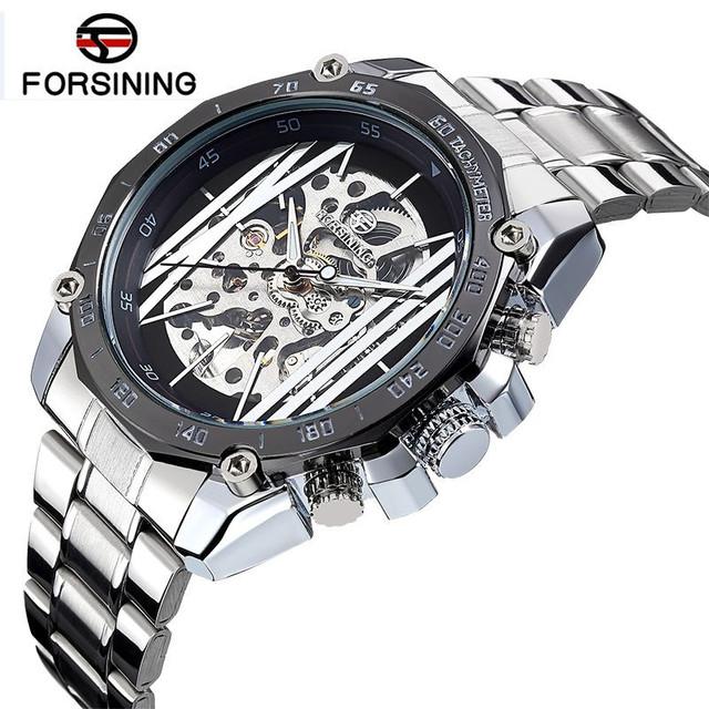 2017 Fosining Novos Relógios Erkek Kol Saati dos homens Marca de Luxo Esqueleto Auto Mecânica Assista Relógio de Pulso Navio Livre