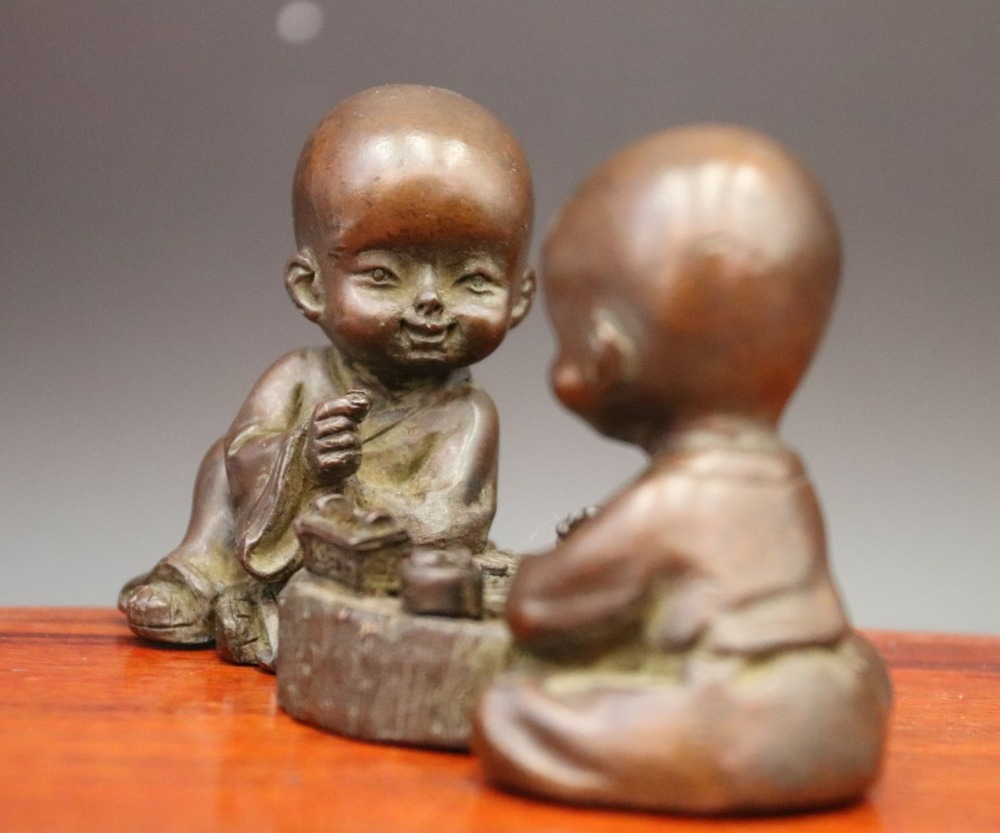 Chinese Culture Chess Painting Tea Pet Craft Home Decoration Little Monk