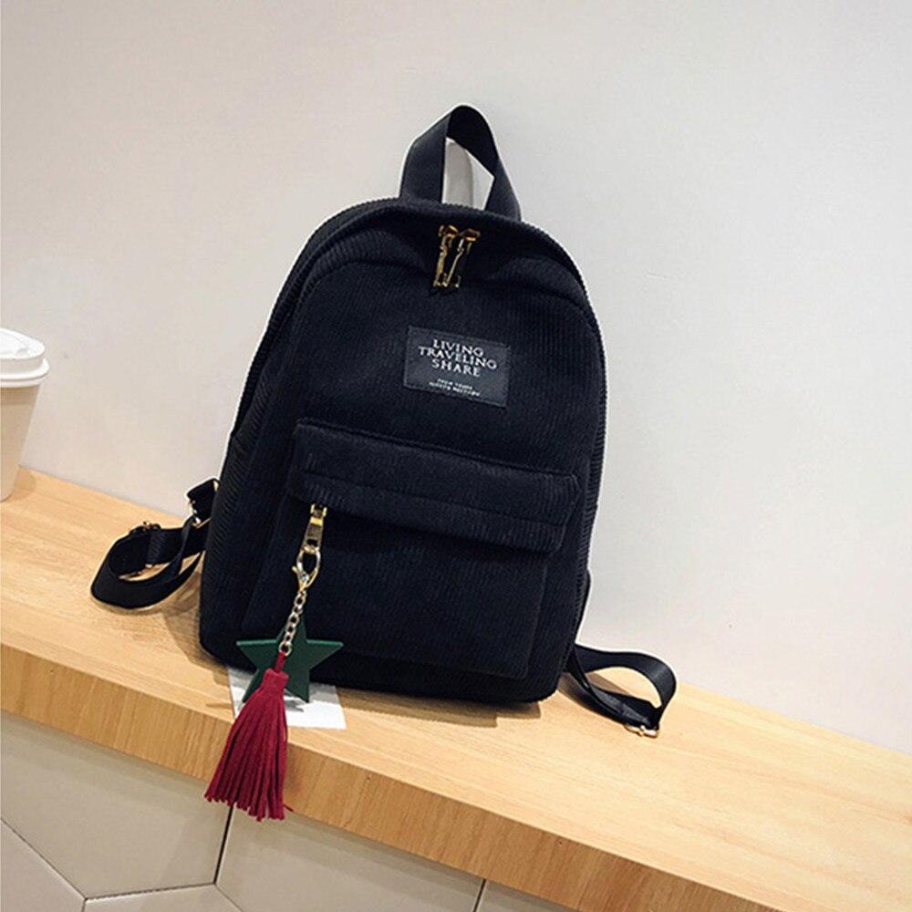 Women's Fashion Canvas Tassel School Bags Travel Backpack Black Bag For Women  Backpack #yl1 #3