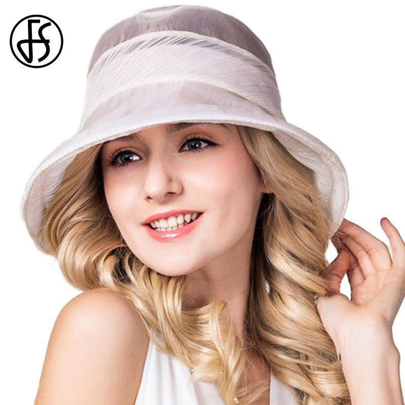 FS Summer Female Foldable Beach Hat Nature Silk Sunhat Wide Brim Floppy Sun Hats For Women Gorro Ala Ancha