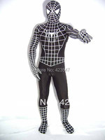 Halloween Cospaly White Print Black Lycra Spiderman Zentai Lycra Tights Activities Costumes