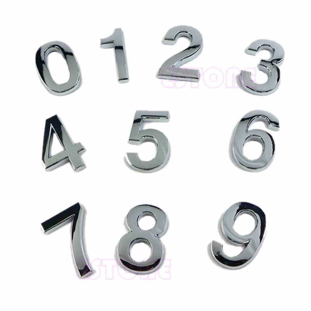 Modern Silver Plaque Number House Hotel Door Address Digits Sticker Plate Sign