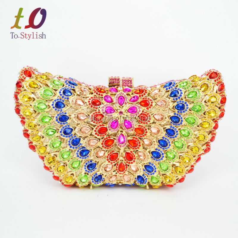 Stylish butterfly Luxury diamante Crystal banquet bags for Ladies Party Prom Gold Clutches Evening Purse Wedding bride bag 88234 руководящий насос range rover land rover 4 0 4 6 1999 2002 p38 oem qvb000050