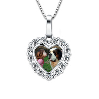 Wholesale Crystal Heart Photo Necklace 925 Sterling Silver Engraved Necklace Anniversary Gift