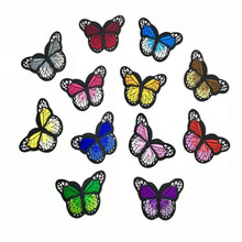 10Pcs Beautiful Small Butterfly Applique Guipure Patch Embroidery Fabric Stick Sew Cloth Accessory Royal Blue Pink Purple 4*7CM цена и фото